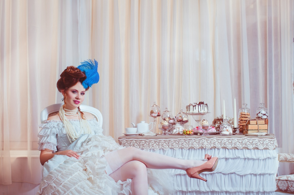 Indoors shot in the Marie Antoinette style.
